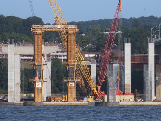 Concrete supports under construction for the new Tappan Zee Bridge Aug. 18, 2015. As seen from aboard a Nyack Boat Club member's sailboat.