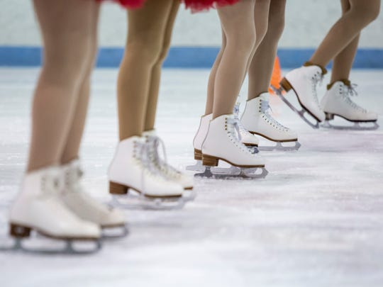 Skaters line up during practice for the Port Huron Figure Skating Club ice show Tuesday, Feb. 21, 2017 at Glacier Pointe in Port Huron Township.