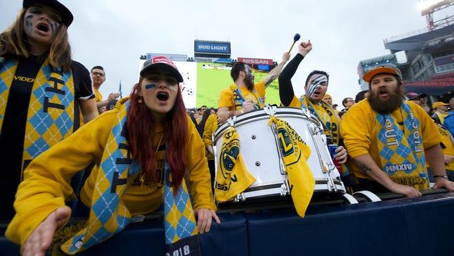 The Roadies cheer for SC Nashville at Nissan Stadium on March 24, in Nashville, Tenn.