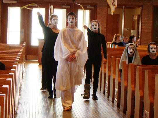 "Students dressed in mime will re-enact the events of Holy Week in ""What a Week for Jesus"" on April 12 at St. Joseph, Cold Spring."