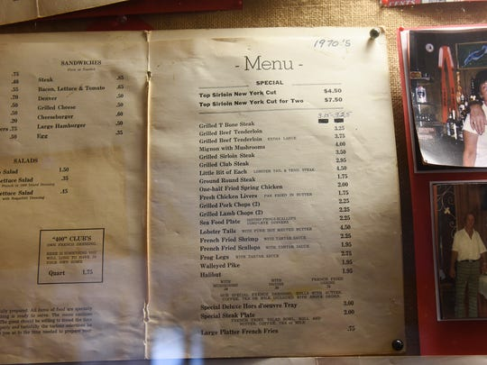 Vintage menus and other items are displayed Wednesday,