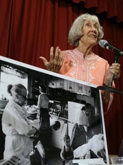 Ruth Hyde Paine, who offered her home to the Lee Harvey Oswald family prior to the assassination of President John F. Kennedy in 1963, speaks Sept. 13 to the Sonoma Valley Historical Society in Sonoma, Calif.