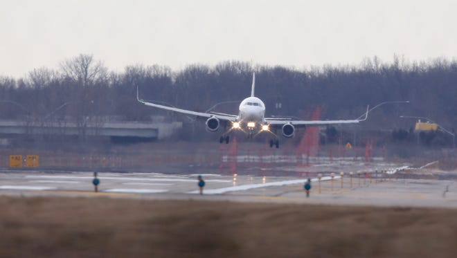 A jet comes in for a landing at Detroit Metro Airport.