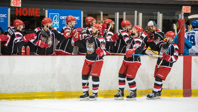 The Port Huron Prowlers celebrate their first point against the Watertown Wolves in the first game of the Commissioner's Cup playoffs at McMorran Arena Friday, April 20.
