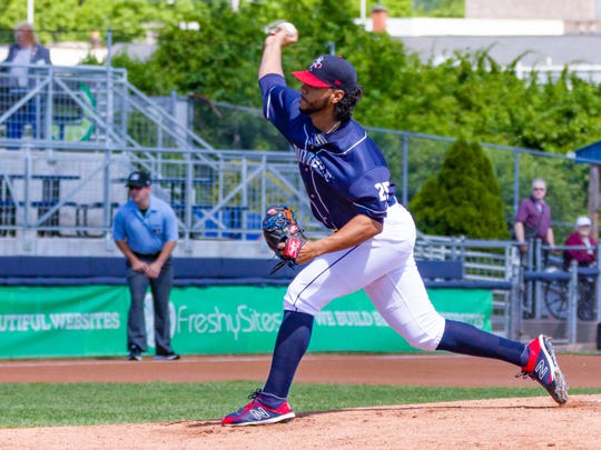 Binghamton starting pitcher Marcos Molina throws during the Binghamton Rumble Ponies' 9-2 loss to the Altoona Curve on Thursday at NYSEG Stadium.