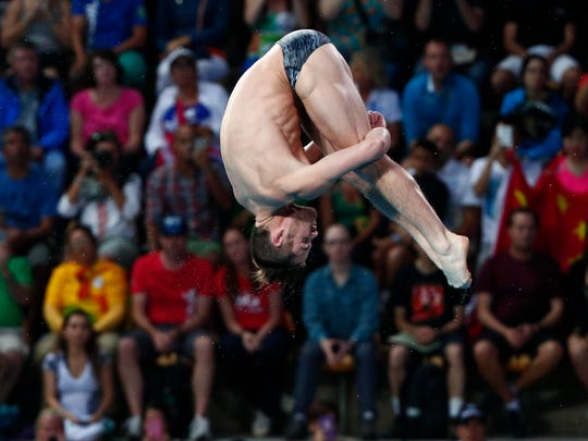 David Boudia (USA) competes in the men's 10m platform diving final during the Rio 2016 Summer Olympic Games.