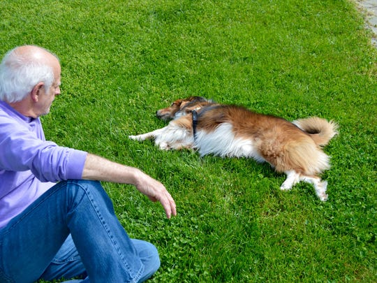 Jonathan Spivak lounges in his yard with his best friend