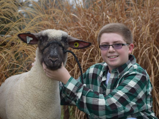 Clay Myers, 12, of Washington Township, poses with his 8-month-old lamb Jose.  Jose will compete in the market lamb show at the 2016 Farm Show.