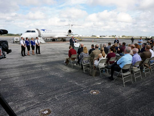 John Pearsall, president of Elite Airways, speaks Wednesday at Naples Municipal Airport about the company's new jet service at that location.