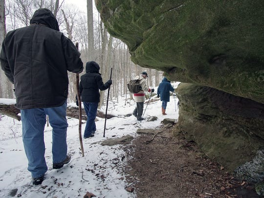 Hikers turn a corner during the Sweetheart Hike to