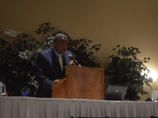 The Rapides Chapter of the Southern University Alumni Federation Event Chairperson Roosevelt L. Johnson speaks to the crowd at Thursday's event.