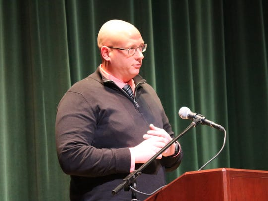 Ottawa County Prosecutor James VanEerten speaks during 'Save A Live,' a substance abuse awareness forum in Port Clinton.