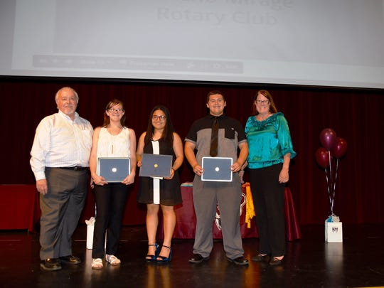 The Rancho Mirage Rotary Club presented three $1,000 scholarships and contributed $500 toward an additional $2,500 in scholarship to Rancho Mirage High School students.