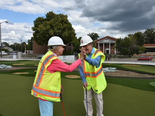 Pete and Alice Dye celebrate their love of golf at the Pete and Alice Dye Golf Experience now under construction at The Children's Museum in Indianapolis. The exhibit is set to open in March 2018.