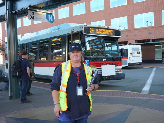 Rachael Beem works as a transit host for Cherriots at the Downtown Transit Center in Salem.