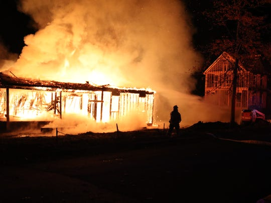 A fire destroyed a home under construction in the Leonardo