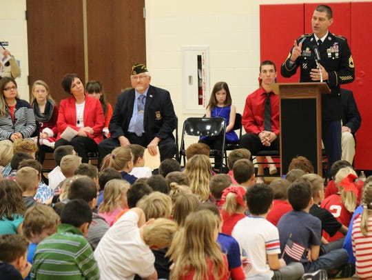 """Sgt. 1st Class Jeremy Schultz, a Port Clinton native serving in the U.S. Army, was the guest speaker at the school's 2017 """"Bataan Day"""" ceremony."""