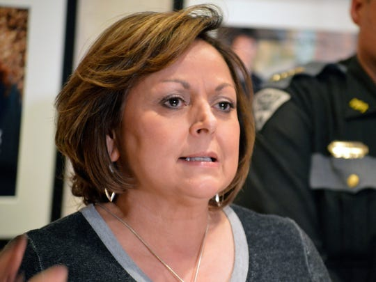 New Mexico Gov. Susana Martinez, a Republican, speaks to reporters outside her office in Santa Fe, N.M. on Thursday, Feb. 15, 2018. The New Mexico Legislature wrapped up a 30-day session Thursday, after approving a $6.3 billion budget bill that shores up spending on the criminal justice system and public education with pay raises allotted to teachers and state workers.