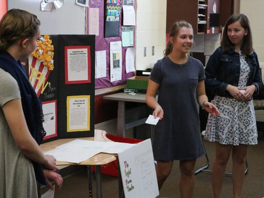 "Marcella Brenner, Kennedy Adkins and Olivia Eickert present their business idea, The Poppin' Movie Theatre, at Port Clinton Middle School's Young Entrepreneurs ""Shark Tank"" event on Wednesday, April 11."