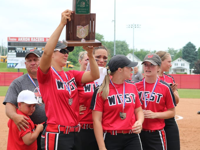 Lakota West senior Allie Cummins holds up the Division