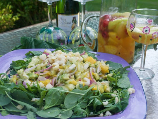 Maui Inspired Tropical Salad with Passion Fruit Sangria