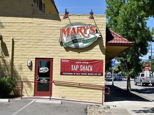 The Shasta Street entrance to Mary's Pizza Shack in downtown Redding.