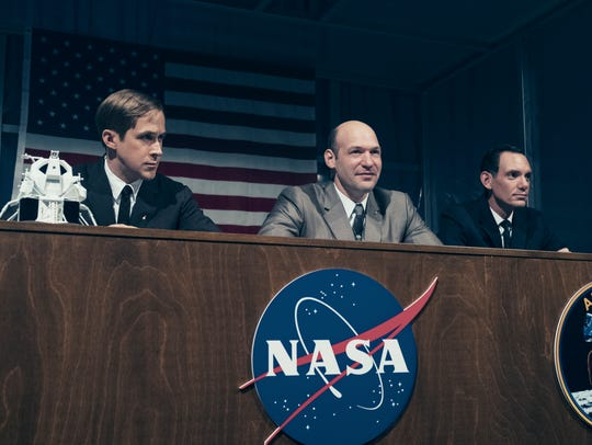 Astronauts Neil Armstrong (Ryan Gosling, from left),