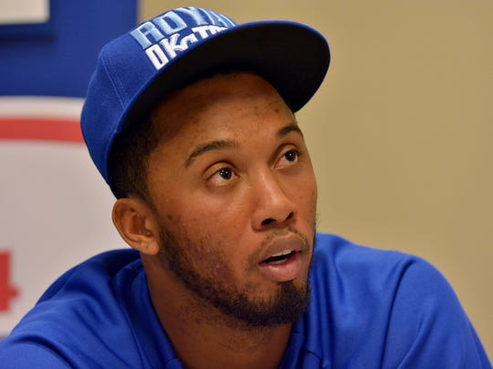 Oct 20, 2014; Kansas City, MO, USA; Kansas City Royals shortstop Alcides Escobar (2) speaks with media the day before the start of the 2014 World Series against the San Francisco Giants at Kauffman Stadium. Mandatory Credit: Denny Medley-USA TODAY Sports