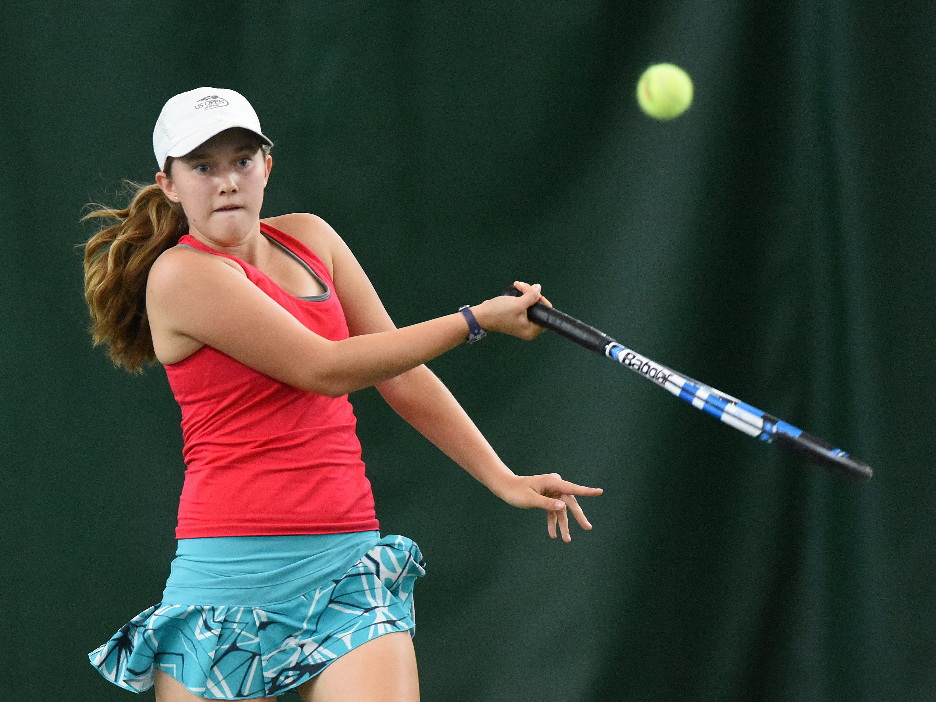 South Salem's Jillian Studer plays in a singles match during the second day of the Greater Valley Conference tennis meet on Friday, May 15, 2015, at Salem Tennis and Swim Club.