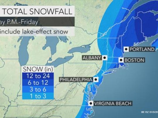 Snow is expected to blanket the Lower Hudson Valley