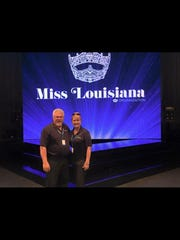 Kelly Justice with Wayne Gentry before a Miss Louisiana