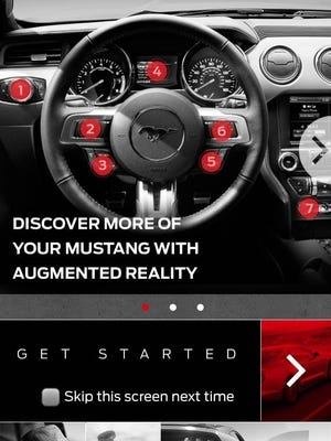 The Mustang Owner app is available on Android and iOS platforms and provides detailed information about the 2015 car's features and capabilities.