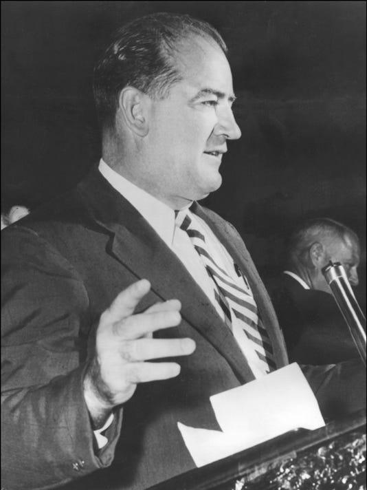 US Senator (R.-Wisc) Joseph McCarthy (1909-57) mak