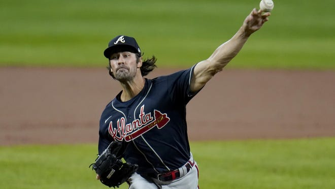 Atlanta Braves starting pitcher Cole Hamels throws a pitch to the Baltimore Orioles during the first inning of a baseball game, Wednesday, Sept. 16, 2020, in Baltimore.