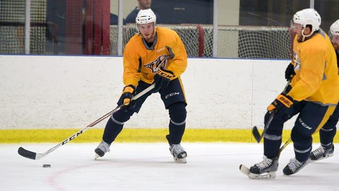 The Predators' Colton Sissons practices drills at Centennial Sportsplex on Sunday.