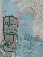 The project site for the proposed Virada development is outlined in red. About a quarter of this space would be part of a publicly accessible open space preserve. The development to the west is Sun City Palm Desert.