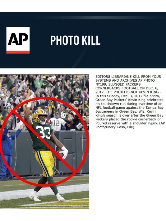 EDITORS LIBRARIANS KILL FROM YOUR SYSTEMS AND ARCHIVES AP PHOTO NY199, SLUGGED PACKERS CORNERBACKS FOOTBALL ON DEC. 6, 2017. THE PHOTO IS NOT KEVIN KING - In this Sunday, Dec. 3, 2017 file photo, Green Bay Packers' Kevin King celebrates his touchdown run during overtime of an NFL football game against the Tampa Bay Buccaneers in Green Bay, Wis. Kevin King's season is over after the Green Bay Packers placed the rookie cornerback on injured reserve with a shoulder injury. (AP Photo/Morry Gash, File)