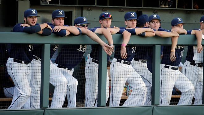 Xavier players watch in the ninth inning against UC Santa Barbara.