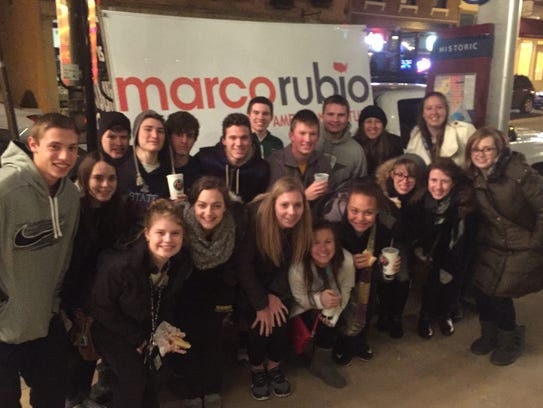 Taylor High School students at the Iowa caucuses.