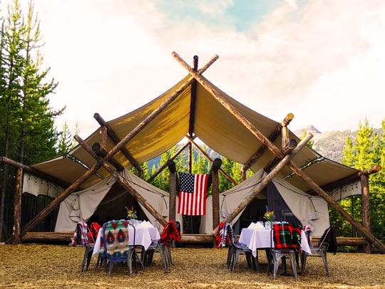 A Collective Retreats dining setup at 3 Peaks has a