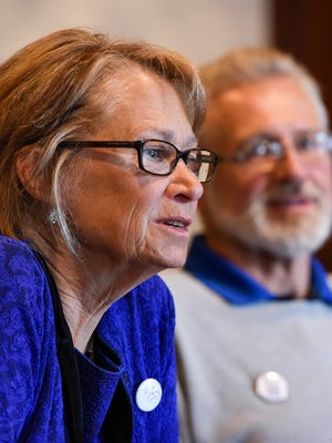 Patty Wetterling spoke Tuesday, Oct. 11, 2016, about a month after Danny Heinrich pleaded guilty to killing the Wetterlings' son 27 years ago. The Wetterlings met with media at St. Mark's Episcopal Cathedral in Minneapolis.
