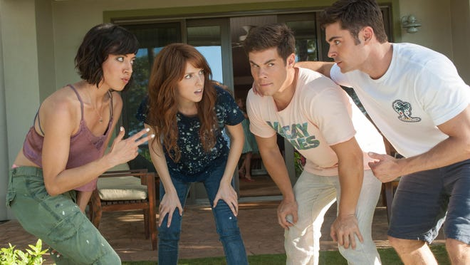 """Tatiana (Aubrey Plaza) and Alice (Anna Kendrick) get to know their dates, Mike (Adam Devine) and Dave (Zac Efron) in """"Mike and Dave Need Wedding Dates."""""""