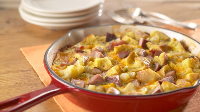 A ham and cheese frittata uses leftover pork or ham purchased at the deli counter.