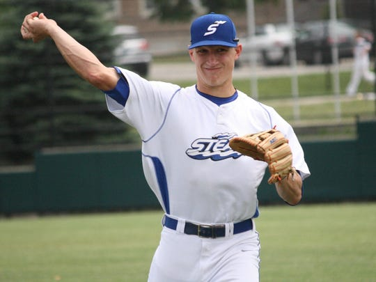 Cincinnati Steam second baseman Jake Richmond, an Oak Hills graduate, warms up before a game against the Southern Ohio Copperheads on June 18 at Max McLeary Field.