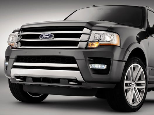 The updated front end of the 2015 Ford Expedition due later this year. But behind that big grille you'll know longer be able to get a big V-8 -- only a turbo V-6.