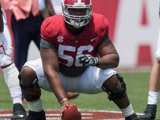 Alabama offensive lineman Brandon Kennedy (56) during