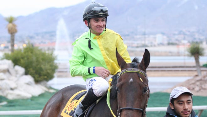 Jockey Enrique Gomez and Judge Lanier Racing Stable's African Rose return to the winner's circle Saturday at Sunland Park Racetrack and Casino after scoring a 2 1-2 length win in the $65,000 Bold Ego Handicap.