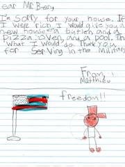 Benjamin Morrow received letters of support from a class of fourth graders.