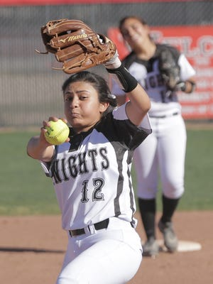 Hanks High School's Elizabeth Diaz starts at pitcher for the Knights during their game Tuesday against Parkland High School at Hanks.