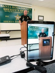 Santa Rosa County Sheriff, Bob Johnson, announces the arrest of Detention Deputy, John Rutherford on animal cruelty charges, a 3rd-degree felony, during a press conference in Milton Wednesday, April 11, 2018.